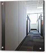 Carpeted Hall With Office Cubicles Acrylic Print by Jetta Productions, Inc