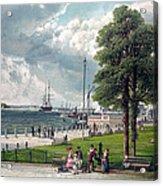Castle Garden, New York, Showing Acrylic Print by Everett