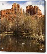 Cathedral Rock Reflections Portrait 1 Acrylic Print by Darcy Michaelchuk