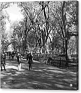 Central Park Mall In Black And White Acrylic Print by Rob Hans