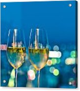 Champagne Glasses In Front Of A Window Acrylic Print by Ulrich Schade