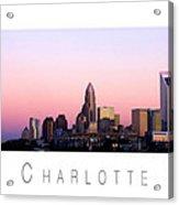 Charlotte Nc Skyline Pink Sky Acrylic Print by Patrick Schneider