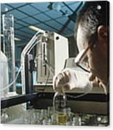 Chemist Analysing Fluids For Pesticide Pollutants Acrylic Print by Tek Image