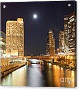 Chicago At Night At Columbus Drive Bridge Acrylic Print by Paul Velgos