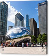 Chicago Bean Cloud Gate With People Acrylic Print by Paul Velgos