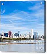 Chicago Lakefront Skyline Wide Angle Acrylic Print by Paul Velgos