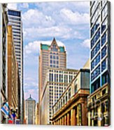Chicago - Looking South From Lasalle Street Acrylic Print by Christine Till