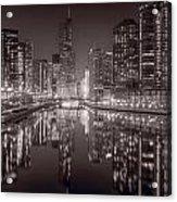Chicago River East Bw Acrylic Print by Steve Gadomski