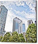 Chicago Skyline At Millenium Park Acrylic Print by Paul Velgos