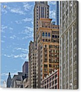 Chicago Willoughby Tower And 6 N Michigan Avenue Acrylic Print by Christine Till