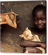 Child Holding A Kid Acrylic Print by Mauro Fermariello