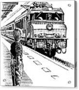 Child Train Safety, Artwork Acrylic Print by Bill Sanderson