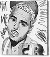 Chris Brown Cb Drawing Acrylic Print by Kenal Louis