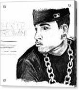 Chris Brown Drawing Acrylic Print by Pierre Louis
