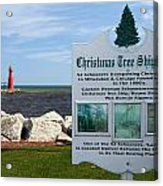 Christmas Tree Ship Point At Algoma Harbor Acrylic Print by Mark J Seefeldt