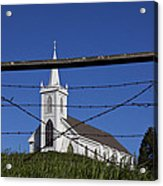 Church And Barbed Wire Acrylic Print by Garry Gay