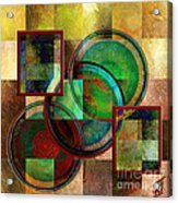 Circles And Squares Triptych Centre Acrylic Print by Rosy Hall