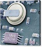 Circuit Board Battery, Sem Acrylic Print by Steve Gschmeissner