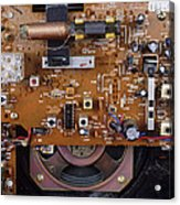 Circuit Board In A Portable Radio Acrylic Print by Andrew Lambert Photography