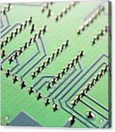 Circuit Board Acrylic Print by Maria Toutoudaki
