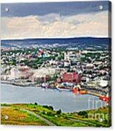 Cityscape Of Saint John's From Signal Hill Acrylic Print by Elena Elisseeva