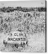 clan mackintosh memorial stone on Culloden moor battlefield site highlands scotland Acrylic Print by Joe Fox