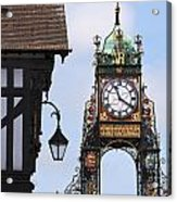 Clock In Chester Acrylic Print by Andrew  Michael