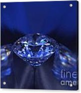 Closeup Blue Diamond In Blue Light. Acrylic Print by Atiketta Sangasaeng