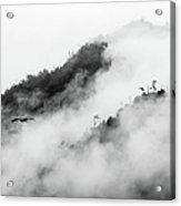 Clouds Surrounding Mountains Acrylic Print by Ruben Sanchez Photography