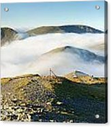 Cloudsurfing Grisedale Pike Acrylic Print by Stewart Smith
