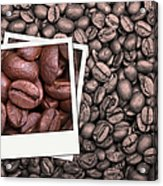 Coffee Beans Polaroid Acrylic Print by Jane Rix