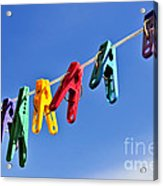 Colorful Clothes Pins Acrylic Print by Elena Elisseeva