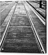 Completed Tram Rails On Princes Street Edinburgh Scotland Uk United Kingdom Acrylic Print by Joe Fox