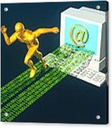 Computer Artwork Of E-mail As A Sprinter Acrylic Print by Laguna Design