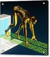 Computer Artwork Of The Internet As A Sprinter Acrylic Print by Laguna Design
