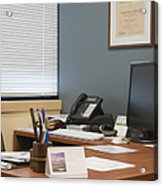 Computer Monitor And Office Space Acrylic Print by Andersen Ross