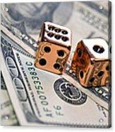Copper Dice And Money Acrylic Print by Susan Leggett