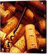 Corkscrew And Wine Corks Acrylic Print by Garry Gay