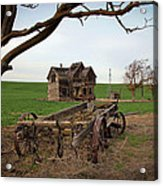 Country Home And Wagon Acrylic Print by Athena Mckinzie
