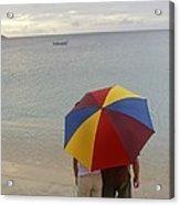 Couple Holding Umbrella On Beach Acrylic Print by Barry Tessman