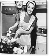 Couple Standing In Kitchen, Smiling, (b&w) Acrylic Print by George Marks
