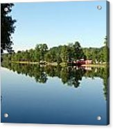 Covered Bridge Reflections At L'ange Gardien Quebec Acrylic Print by Bruce Ritchie