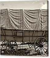 Covered Wagon Sepia Acrylic Print by Steve Harrington