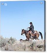 Cowboy Desert Moon Acrylic Print by Cindy Singleton