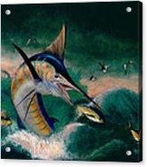 Crashing Blue Acrylic Print by Wesley  Carter