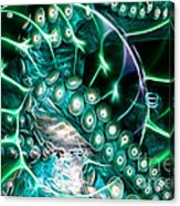 Creatures Of The Deep - Octopus Caught In The Swirl Of The Giant Nautilus - Electric - Cyan Acrylic Print by Wingsdomain Art and Photography