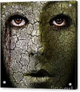 Creepy Cracked Face With Tears Acrylic Print by Jill Battaglia