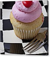 Cupcake With Heart On Checker Plate Acrylic Print by Garry Gay