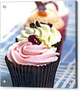 Cupcakes On Tablecloth Acrylic Print by Jane Rix