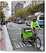 Cycle Rickshaw On Market Street In San Francisco Acrylic Print by Wingsdomain Art and Photography